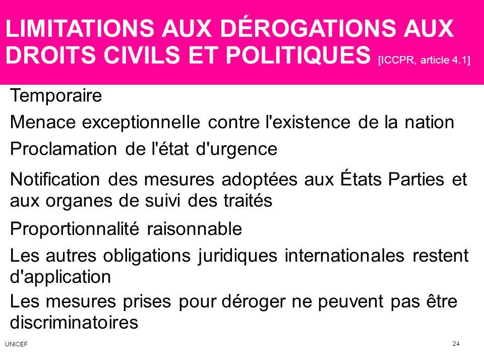 LIMITATIONS AUX DÉROGATIONS AUX DROITS CIVILS ET POLITIQUES [ICCPR, article 4.1]